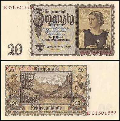 Germany 20 Reichsmark, 1939, P-185, UNC