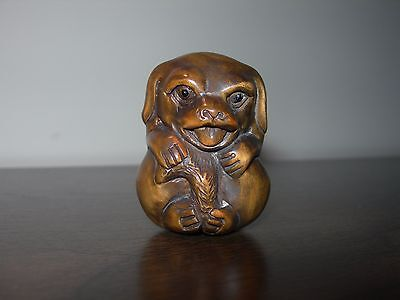 Netsuke Dog Puppy Figurine Boxwood Japanese Handmade Carving Handcarved Signed