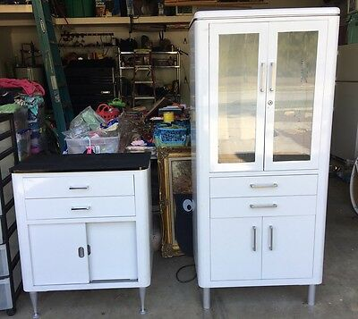 Lot Of 2 Vintage Hamilton Steel and Glass Lighted Medical Cabinets NICE!!!