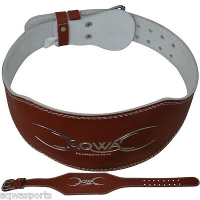 "AQWA Weight Lifting 6"" Leather Belt Gym Back Support Fitness Training, Brown"