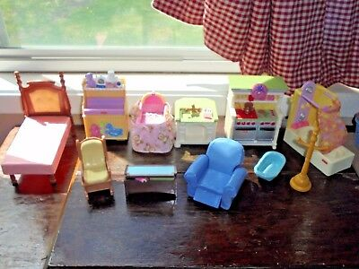 Fisher Price Loving Family Dollhouse Accessories Furniture Recliner Bed Lot