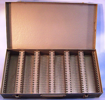 Metal Slide Storage case. Well made Steel case for glass and cardboard mounts