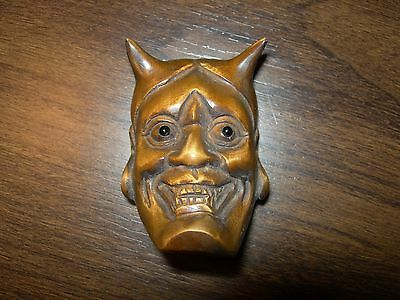 Netsuke Devil Mask Figurine Boxwood Japanese Hand Carved Handmade Carving Signed