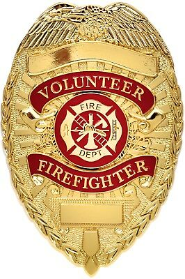 Volunteer Firefighter Badge, Gold Fire Dept Shield FD Department Deluxe Pin-Back
