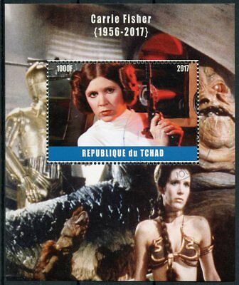 Chad 2017 CTO Carrie Fisher 1v M/S Star Wars C3PO Princess Leia Stamps