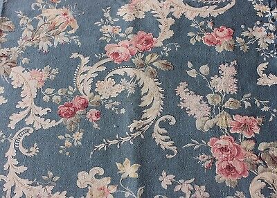 Lovely French Rococo Antique Roses & Scrolls Home Dec Cotton Fabric c1870-1880