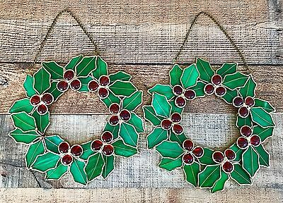 Pair Of Stained Glass Christmas Wreaths Holly With Berries 12 Inches