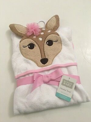 Hudson Baby Girls Doe Deer Hooded Bath Towel White Layette Forest Theme