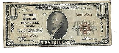 $10 1929 The Pikeville  National Bank Pikeville Ky Charter #7030 Type1