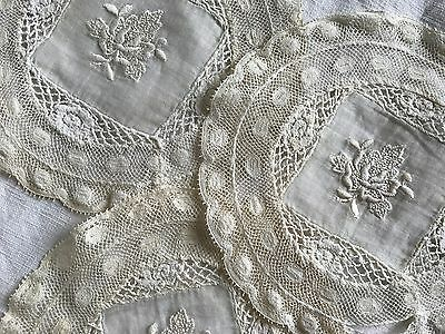 Set Of 3 Antique French Doilies - Small White Doilies - White Embroidery & Lace