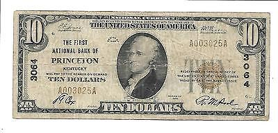 $10 1929 The First National Bank Of Princeton Ky Charter #3064 Type1