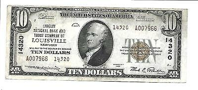 $10 1929 Liberty National Bank And Trust Company Of Louisville Ky Charter #14320