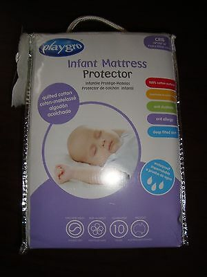 Playgro Quilted Cotton Crib Mattress Protector & Cover for baby & infant nursery