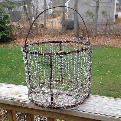 Antique Primitive Hand Made Cape Cod Fishermans Wire Clam Oyster Basket
