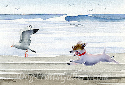 Jack Russell Terrier Art Print Signed by Watercolor Artist DJ Rogers