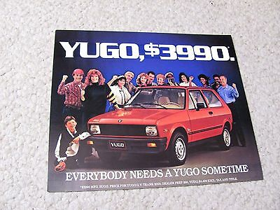 1986 Yugo (Usa) Sales Brochure...