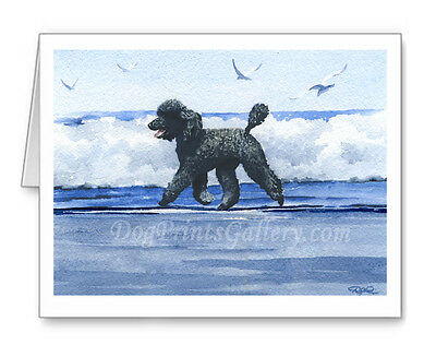 Standard Black Poodle Set of 10 Note Cards With Envelopes