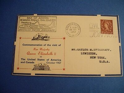 Envelope Commemoration Visit Queen Elizabeth Ii To Usa And Canada 1957 Stamp