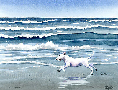 """""""Bull Terrier at the Beach"""" Art Print Dog Signed by Watercolor Artist DJ Rogers"""