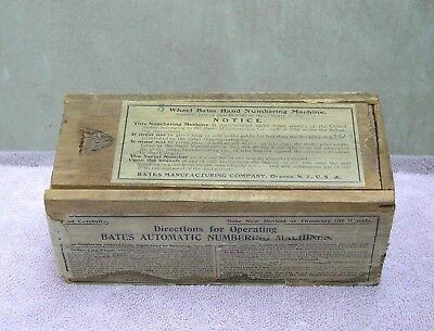 "Antique Original ""Bates Automatic Numbering Machines"" Wooden Merchant Box 1890's"