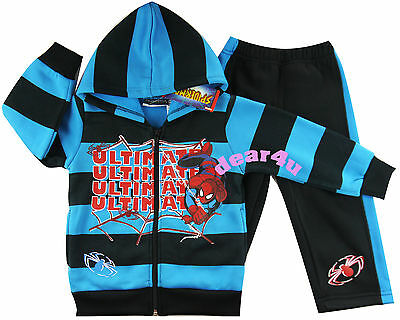 Spiderman spider boys fleece outfit winter jacket zip hoodie pants blue size 2-8