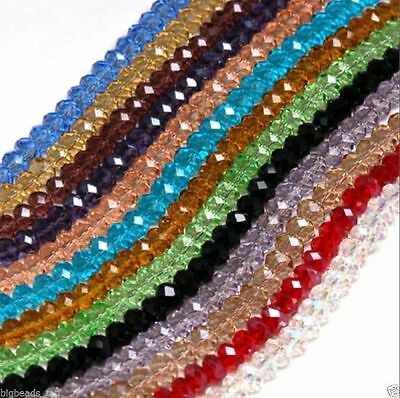 Hot Faceted Rondelle Crystal Glass Beads Pick Colour Aaa