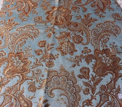 Antique 19thC French Silk Jacquard Turquoise & Gold Jacobean & Scroll Fabric