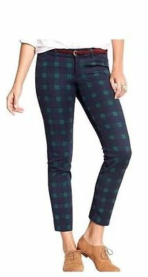 Old Navy Womens Pixie Midrise Ankle Blue/Grn Plaid Pants Hol14 Soldout S/525427