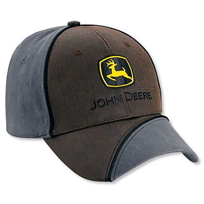 JOHN DEERE *LEATHER LOOK & CHARCOL* Trademark Logo HAT CAP *BRAND NEW w/Tag!*