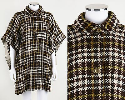 VTG 1960s BONNIE CASHIN SILLS BROWN HOUNDSTOOTH TWEED & LEATHER PONCHO COAT CAPE