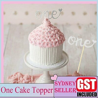 One Cake Topper 1st Birthday Gold Silver Glitter Party Wedding DIY Decoration