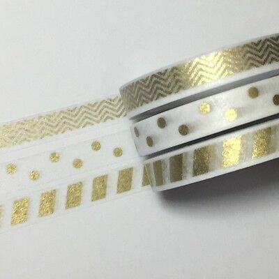 Washi Tape Thin Skinny Gold Trio - Spots Zigzag Wide Stripe 7Mm X 5Mtr Plan Wrap