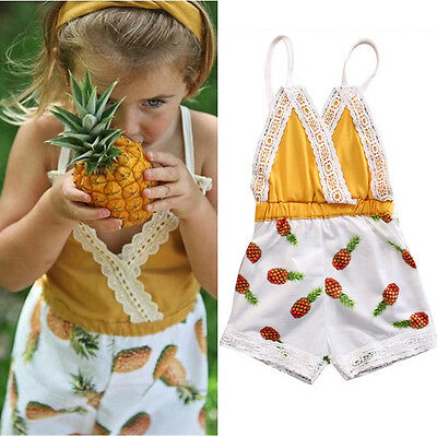 Toddler Kids Baby Girls Pineapple Strap Romper Jumpsuit Pants Clothes Outfits
