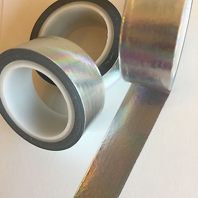 Washi Tape Foil Solid Colour Silver Holographic 15Mm X 5Mtr Roll Plan Craft Wrap
