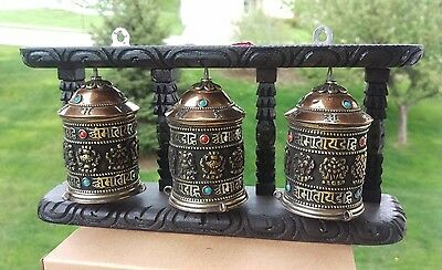 Tibetan Buddhist Handcrafted Spinning Prayer Wheel 3 in 1 Wall Mount~ from Nepal