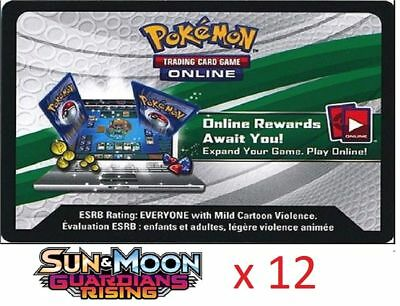 12 x Pokemon SM Guardians Rising Code TCGO Cards TCG Codes SENT WITHIN 12 HOURS