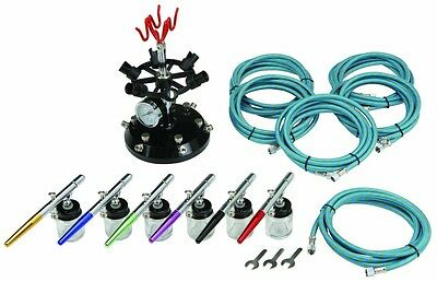 16 Pc Professional 6-Color Airbrush Kit With Holder