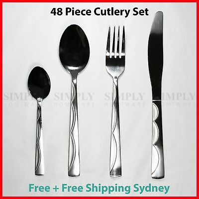 48 Piece Stainless Steel Cutlery Set Silver Bulk Sets Knife Fork Spoon Teaspoon