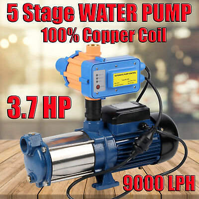 3.7HP Multi Stage High Pressure Auto Water Pump Garden House Pool Rain Tank