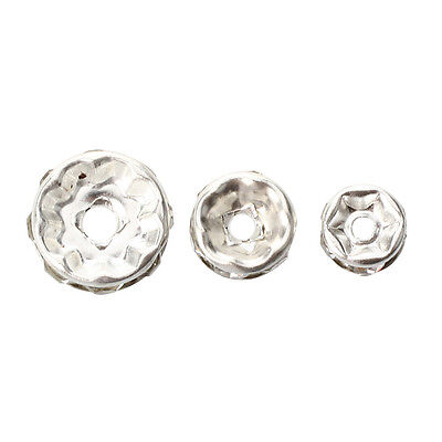 75pcs Silver bead spacer plate and rhinestone DIY Deco Necklace Jewelry M3M2