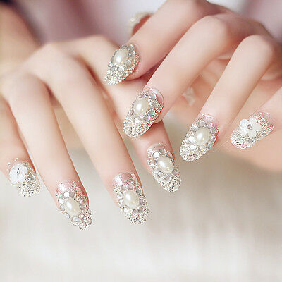 24 Pcs Attractive Rhinestone False Nail Tips Sticker Bride Press On Fake Nails