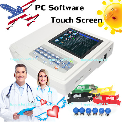 USA Digital 12 Channel Touch ECG/EKG machine+Software Electrocardiograph+Printer