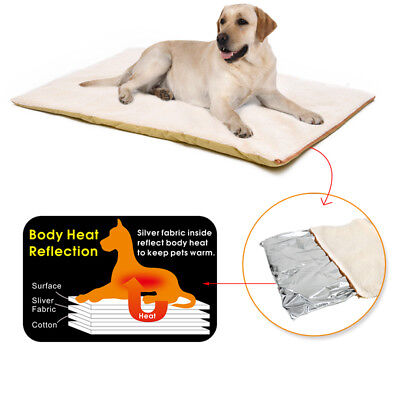 Self-Heating Dog Heated Mattress Crate Pad Bed Large Pet Soft Washable Cushion