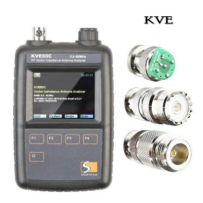 KVE60C Antenna Analyzer SWR HF Vector Graphic Impedance 0.5-60MHz Tester Meter