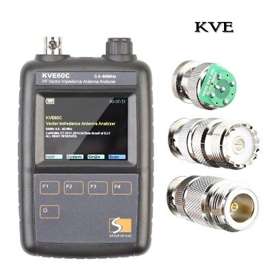 KVE60C SWR HF Vector Color Graphic Impedance Antenna analyzer Meter 0.5-60MHz
