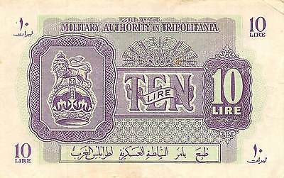 Libya  10 Lire  ND. 1944  M4 WW II issue  circulated Banknote