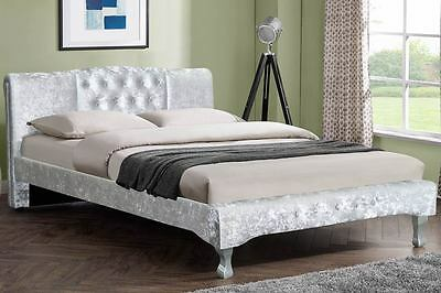 Silver Crushed Velvet Designer Bed Frame Double King Size Luxury Contemporary