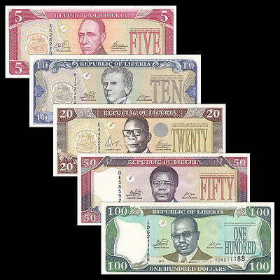 Liberia Set 5 PCS, 5 10 20 50 100 Dollars, 2003-2011, P-26 27 28 29 30, UNC