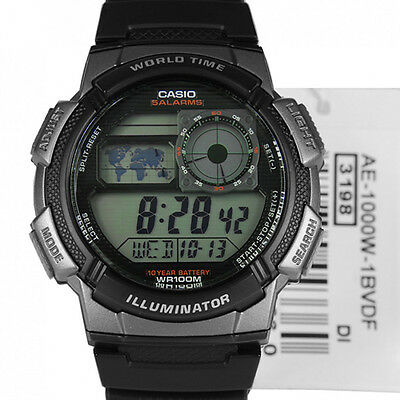 AE-1000W-1BV Multi Time Stopwatch World Time LED Black Resin Watch