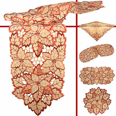 Bronze Leaf Open Embroidery Table runner Tablecloth Doily Brown Orange